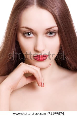 portrait of beautiful woman with sensual red lips on white background - stock photo