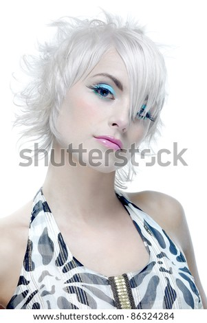 Portrait of beautiful woman with short elegant hairstyle - stock photo