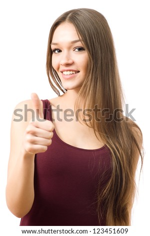 Portrait of beautiful woman with thumbs up sign - stock photo