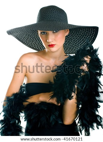 Portrait of beautiful women in black hat and boa. Isolation on white background