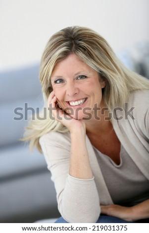 Portrait of beautiful 40-year-old woman - stock photo