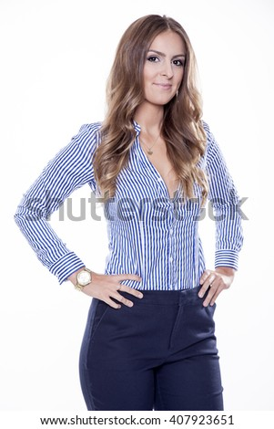 Portrait of beautiful young adult attractive sexy and sensuality happy smiling pretty brunette woman elegance business style dress, Isolated on white background - stock photo