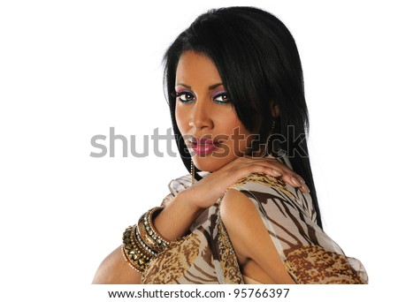 Portrait of beautiful young African American woman with hand on shoulder isolated over white background - stock photo