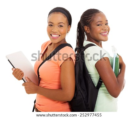 portrait of beautiful young afro american college students - stock photo