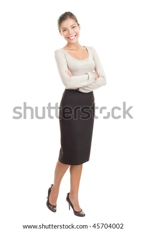 Portrait of beautiful young asian businesswoman in her twenties. Isolated in full length on white background. Mixed caucasian / chinese model. - stock photo