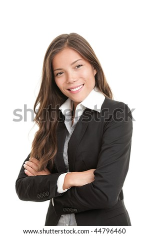 Portrait of beautiful young asian businesswoman in her twenties. Isolated on white background. Mixed caucasian / chinese model. - stock photo