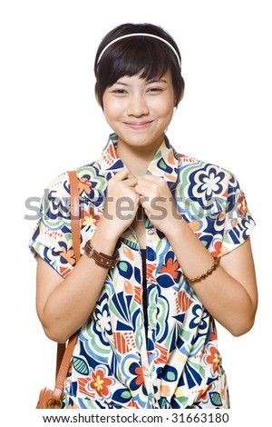 portrait of beautiful young asian on white background - stock photo