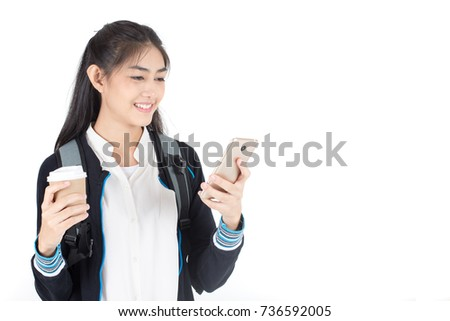 Portrait of Beautiful Young Asian Woman student using smartphone with attractive smiling isolated on white, Woman with Education Concept.