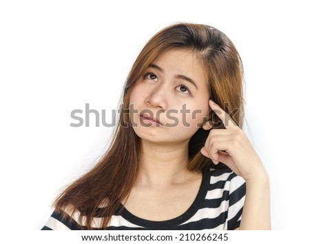 Portrait of  beautiful  young asian woman thinking isolated over white background.