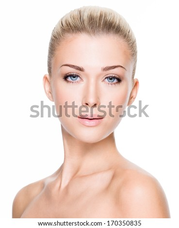 Portrait of beautiful young blond woman with clean face  - stock photo
