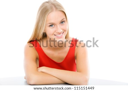 Portrait of beautiful young blonde woman - stock photo