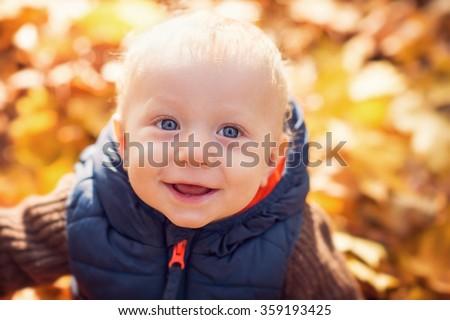 portrait of beautiful young boy - stock photo