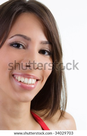 Portrait of Beautiful young brunette woman - stock photo