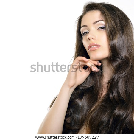 Portrait of beautiful young brunette woman with clean face and perfect brown glossy hair over white. - stock photo