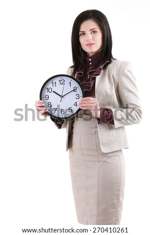 Portrait of beautiful young business woman holding in hands clock, isolated on white background - stock photo