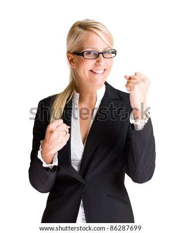 Portrait of beautiful young business woman in victorious pose isolated on white background. - stock photo