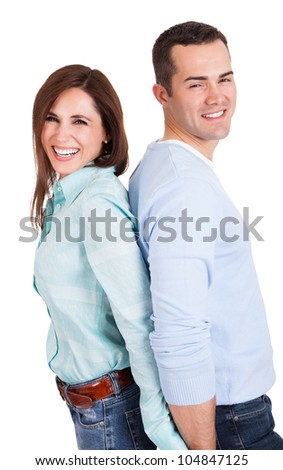 Portrait of beautiful young couple. Isolated on white - stock photo