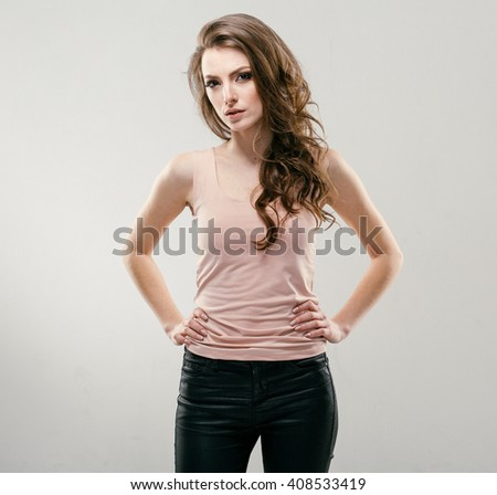 Portrait of beautiful young curly hair woman girl. Fashion photo - stock photo