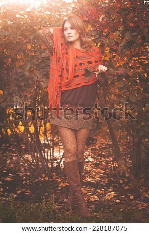 Portrait of beautiful young fashion woman outdoors - stock photo
