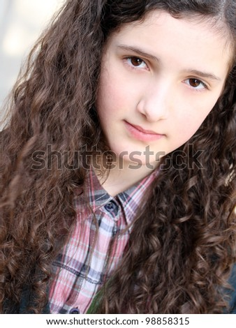 Portrait of beautiful young girl . - stock photo