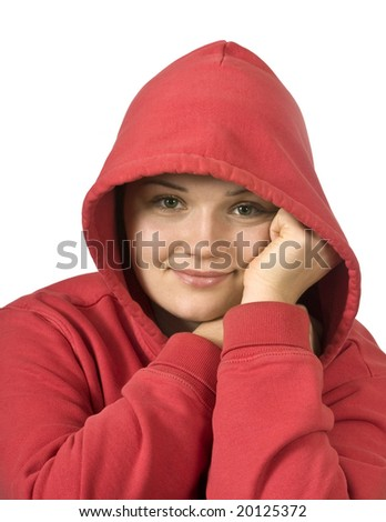 portrait of beautiful young girl in a hood - stock photo