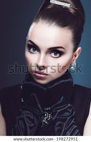 Portrait of beautiful young girl  in retro. Surprised Luxury Lady. Vintage style.  - stock photo