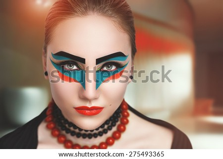 Portrait of beautiful young girl, lady, woman, model. Fantasy, bright, stylish, makeup. Cubism, geometry, minimalism style. Expressive black eyebrows, colored lines, red lips. Fashion, creative look. - stock photo