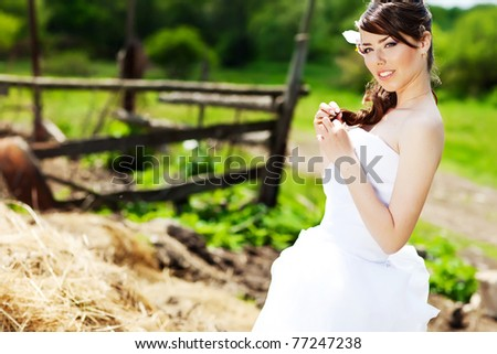 Portrait of beautiful young girl outdoors - stock photo