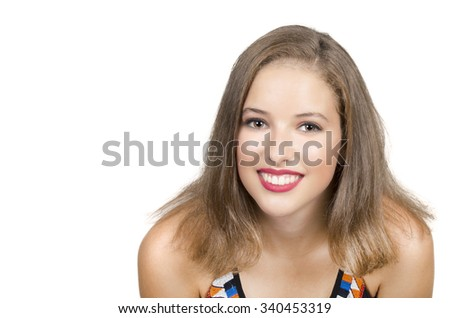 Portrait of beautiful young girl with clean skin on pretty face - white background - stock photo