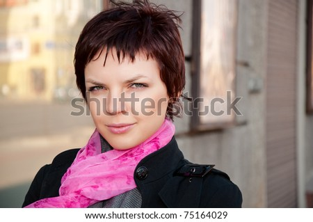 portrait of beautiful young girls on the street - stock photo