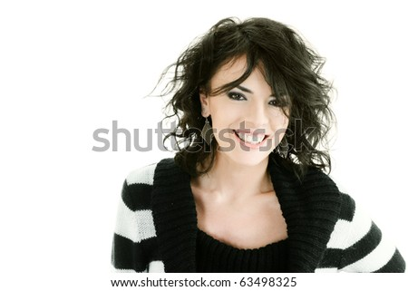 Portrait of beautiful young happy woman isolated over white - stock photo