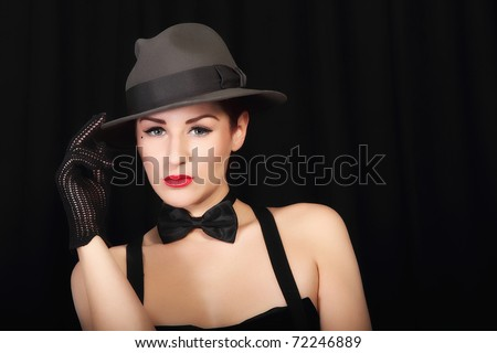 Portrait of beautiful young lady with hat! Isolated on black background!