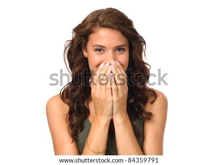 Portrait of beautiful young laughing woman - stock photo