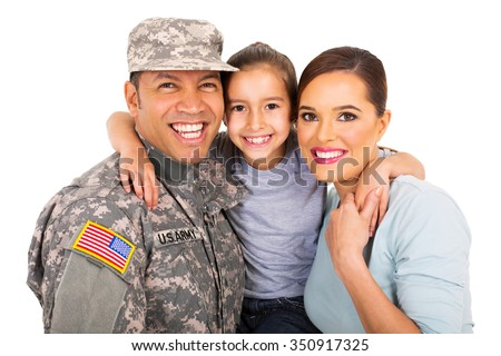 portrait of beautiful young military family on white background - stock photo