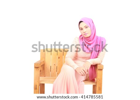 Portrait of beautiful young moslem woman - stock photo