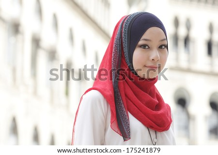 Portrait of beautiful young Muslim girl  - stock photo