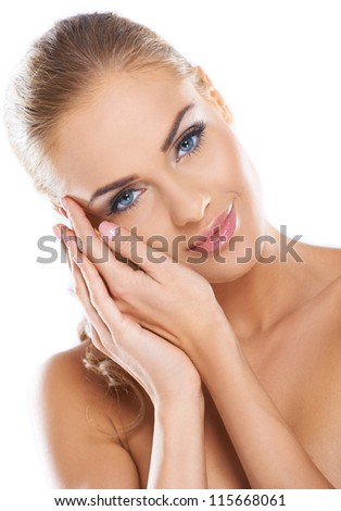 Portrait of beautiful young nude woman isolated - stock photo