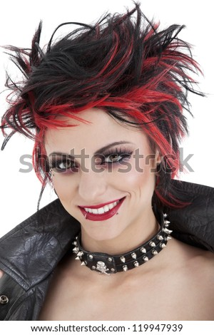Portrait of beautiful young punk woman with spiked hair - stock photo