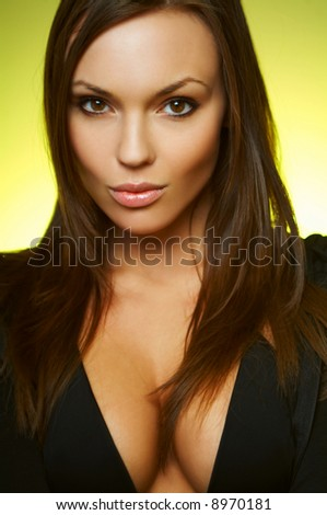 Portrait of beautiful young sexy brunette woman - stock photo
