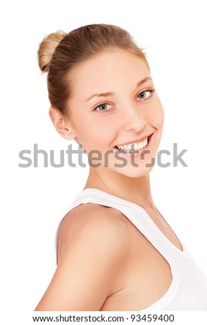 Portrait of beautiful young smiling woman isolated on white background - stock photo