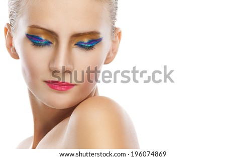 Portrait of beautiful young woman closed eyes. - stock photo