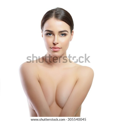 Portrait of beautiful young woman. Girl with perfect face, skin, hair and body over white background. - stock photo