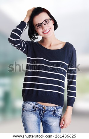 Portrait of beautiful young woman in casual clothes - stock photo