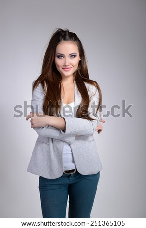 portrait of beautiful young woman indoor - stock photo