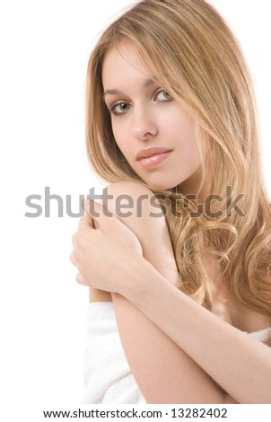 Portrait of beautiful young woman isolated on white background
