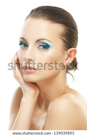 Portrait of beautiful young woman isolated on white background. - stock photo