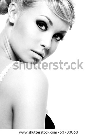 Portrait of beautiful young woman - isolated on white background