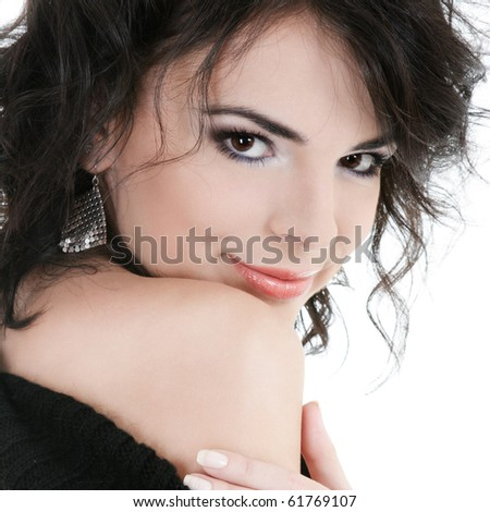Portrait of beautiful young woman isolated over white - stock photo
