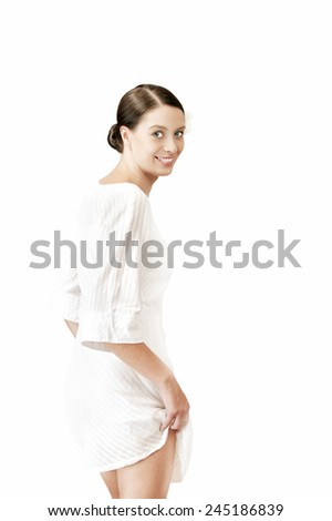 Portrait of  beautiful young woman on white back - stock photo