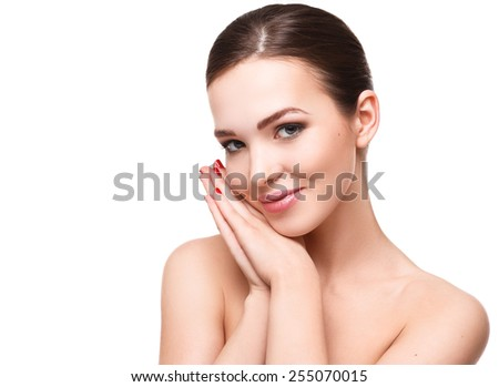 Portrait of beautiful young woman on white background - stock photo